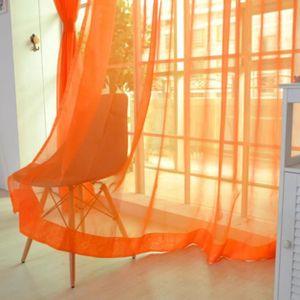 RIDEAU yum® 2 PCS couleur pure Tulle porte fenêtre rideau