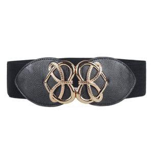 f8aa14ee1c75 Mode femme taille élastique large ceinture élastique Noir Noir Noir ...