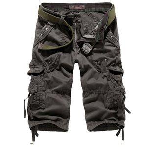 385c129449c33 SHORT Cargo Shorts Homme Gris foncé Marque Luxe Pantalon