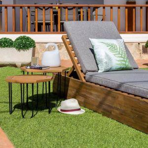 Table jardin bois metal - Achat / Vente pas cher