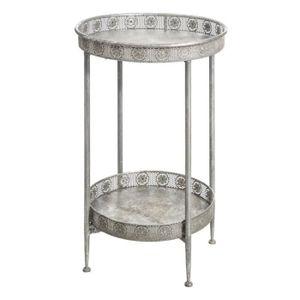 TABLE D'APPOINT Guéridon Argenté vieilli - WANX - L 42 x l 42 x H