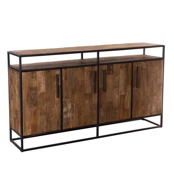 Buffet 4 portes 1 étagère - Teck recyclé et métal - L 178 x P 40 x H 100,5 cm
