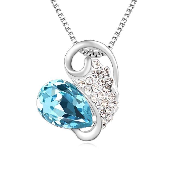 Cristal Swarovski et Preciosa strass coeur - amour - valentine collier pendentif de femmes. Tous les jours - partie WQVYJ
