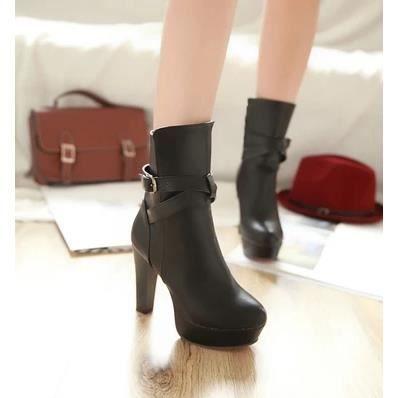 Bottes à talons hauts Femme bottes imperméables femmes bottes simples chaussures de bottes Martin bottes, noir 39