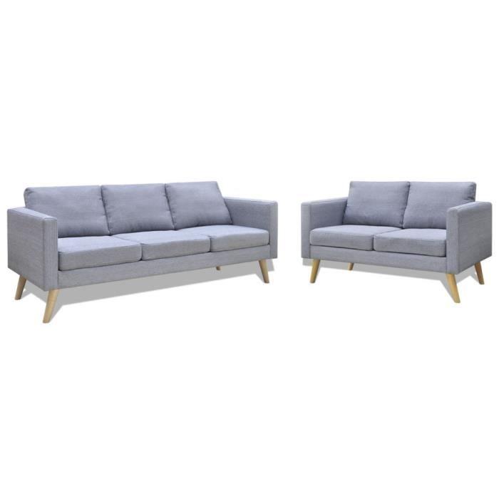 Set de un canapé 2 places + un canapé 3 places gris clair - Achat ... 5491e8d02e7d