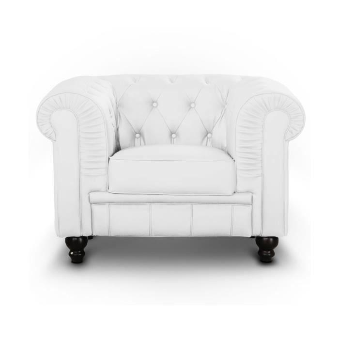 fauteuil chesterfield 1 place blanc l gance et design achat vente fauteuil blanc. Black Bedroom Furniture Sets. Home Design Ideas