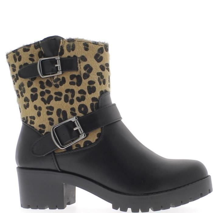 Bottines hautes doublées noires à talon de 5cm tige effet léopard