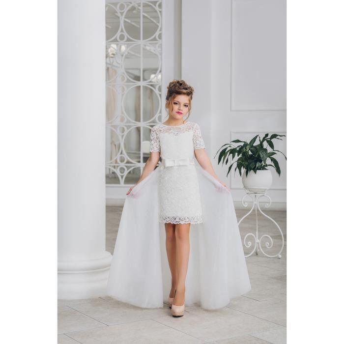 2 pièces Longueur au genou Demi-manches blanc Tulle Pageant Communion Gown