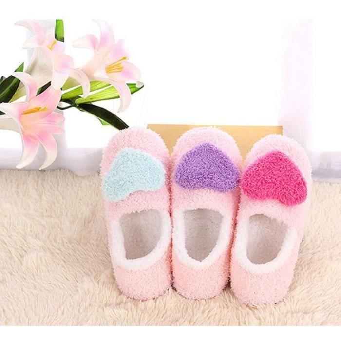 Pantoufles Maison Chaudes Velours Mignon, Femmes Antidérapant Coton Chaussures Hiver Intérieur