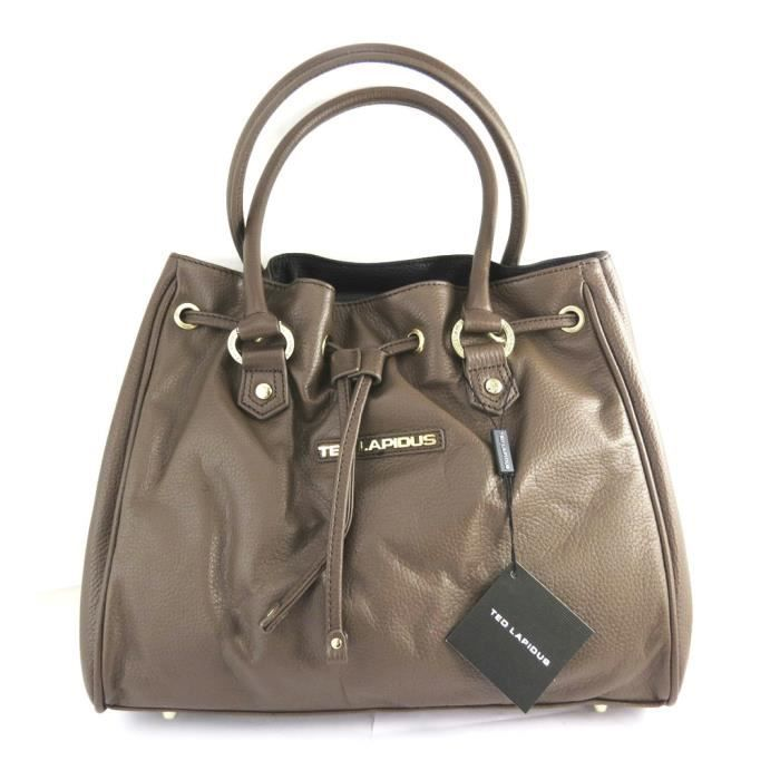 Sac cuir Ted lapidus taupe