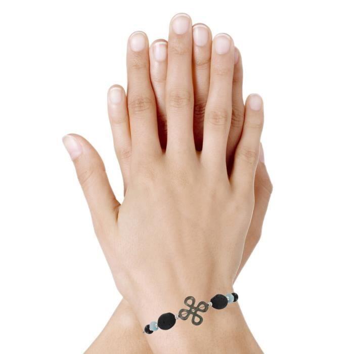 Les Poulettes Bijoux - Bracelet Tube Argent Trèfle de Nacre Perles de Larimar et Lave