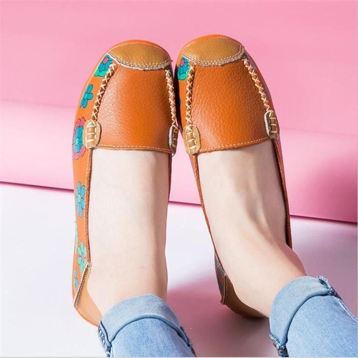 Mocassins Femmes Printemps ete Cuir Chaussures DTG-XZ056Orange38