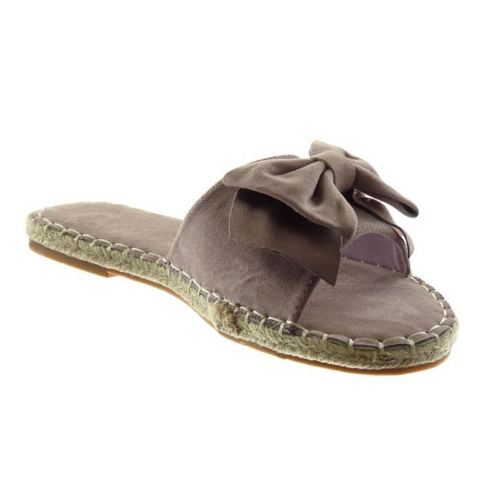 Angkorly - Chaussure Mode Sandale Mule slip-on femme noeud finition surpiqûres coutures corde Talon bloc 1.5 CM - Lilas - L2669 T 41