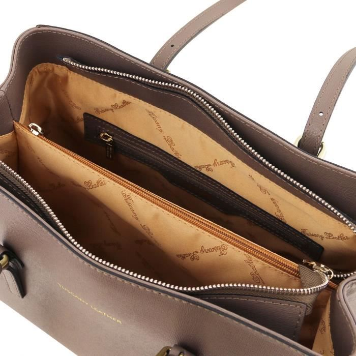 Tuscany Leather - TL Bag -Sac à main en cuir Saffiano - Cognac
