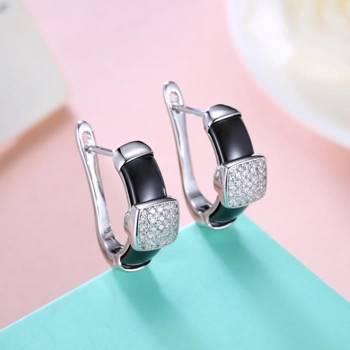 Boucles doreilles femme en Plating Platinum Diamant carré en céramique Noire Swarovski Elements Cristal Boucles doreilles CC021