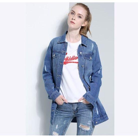 Femme En Conception Trou Nouveau Single Veste Revers Mode Jean qnBH6R7 090dbe8323a8