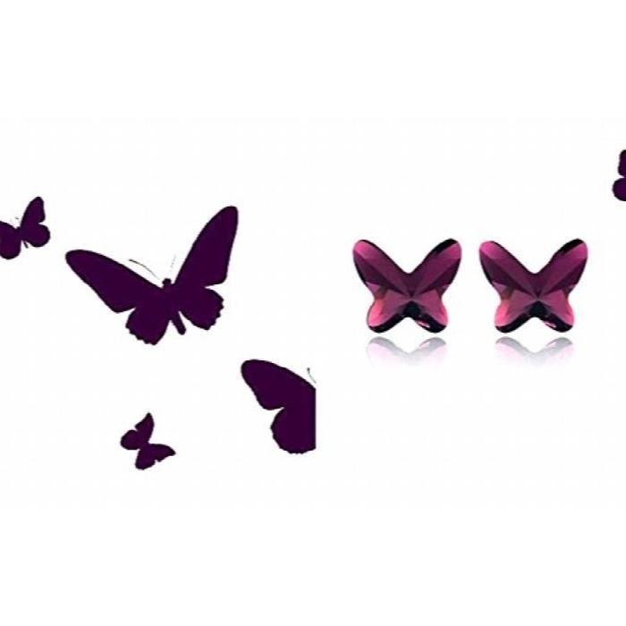 Platinés des femmes Purple Butterfly autrichienne pendentif en cristal Set (jfcomd032) GR64A