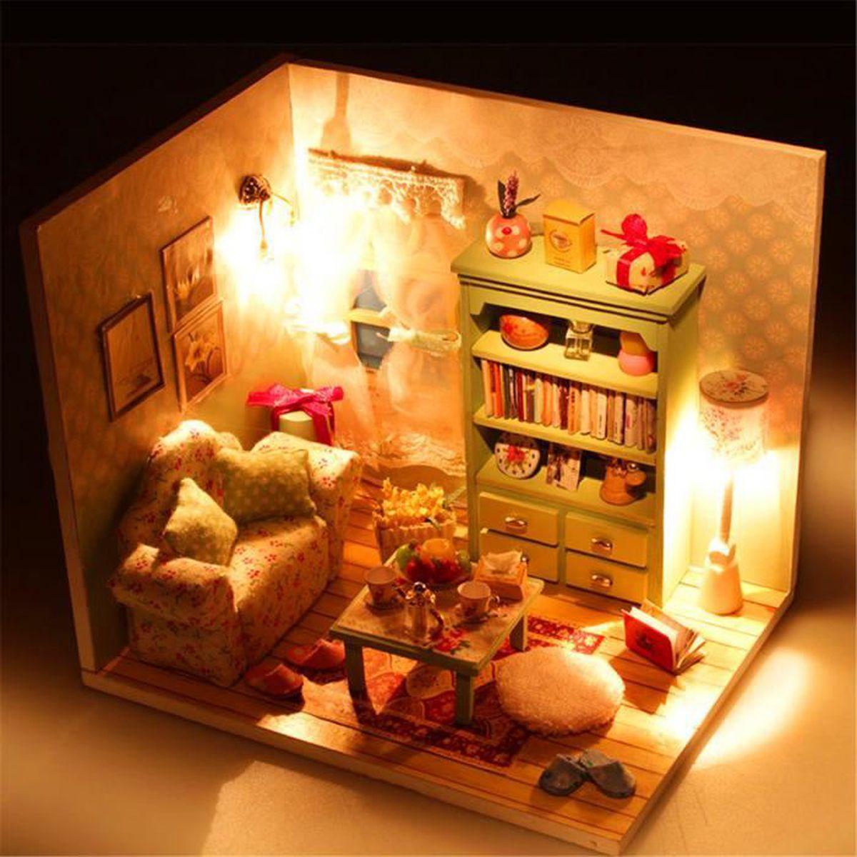 Tempsa Maison De Poupee En Bois Diy Miniature Led Lumiere Pour