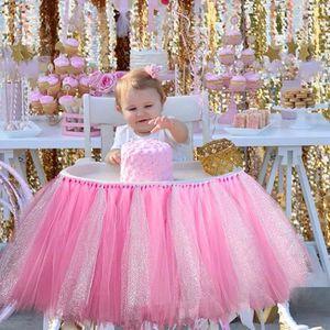 1pc Tulle Wrap 1er Tutu Bébé Douche Haute Rose Jupe Chaise Réglable Tl1cK3FJ