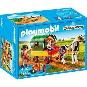ACCESSOIRE DE FIGURINE PLAYMOBIL 6948 Enfants avec Chariot et Poney