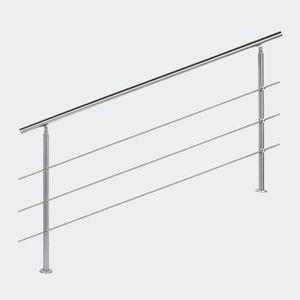 RAMPE - MAIN COURANTE Rampe escalier Acier inoxydable 3 Tiges 180cm Ramb