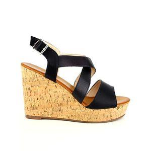 SANDALE - NU-PIEDS sandale - nu-pieds, Compensées Noir Chaussures Fem