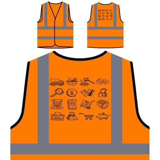 Shopping Commerce Protection Veste Visibilité Personnali Personnalisée À De Croquis Icons e Haute Orange B8wzq8