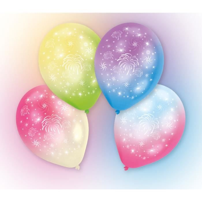 Lot de 4 Ballons avec LED - Latex - Feux d'artifice - 27,5 cm