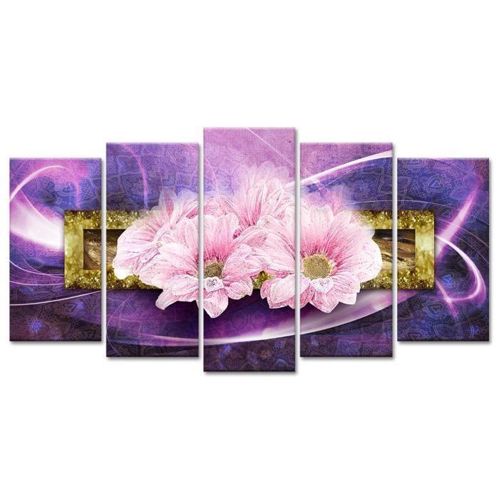 Thème : Fleurs et botanique - Tableau Déco Fleurs Roses - 150x80 cm - VioletTABLEAU - TOILE