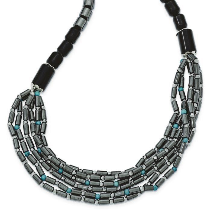 Argent 925/1000–Agate-cristal hématite et 5,1 cm Ext-Turquoise - 42 cm