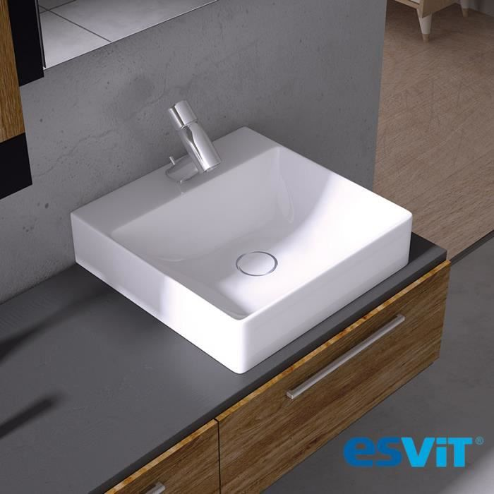 vasque poser carr e 40 cm en c ramique blanche edge blanc achat vente lavabo vasque. Black Bedroom Furniture Sets. Home Design Ideas