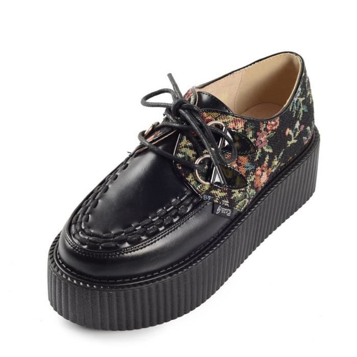 50d574f10 Derby Femmes RoseG Broderie Lacets Plateforme Gothique Creepers Chaussures