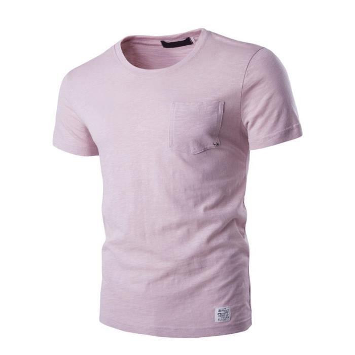 T shirt pas cher Homme Col rond coton Couleur pure Poches Petite étoile  Blanc Polo Hommes VêTement Masculin fb40e56476ad