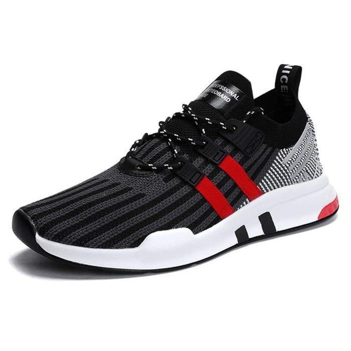 0e65fe9ba9826 Chaussures de Sport Homme Multisports Comp eacute tition Trail  Entra icirc nement Course Running Baskets Rouge