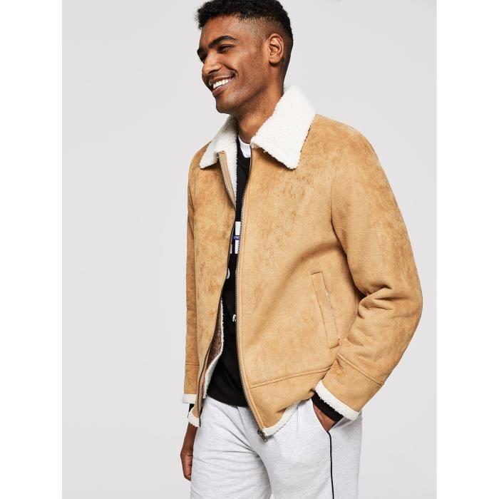 Veste Zippée En Longues Imitation Manteau Kaki Homme Caban Hiver FHUqUw