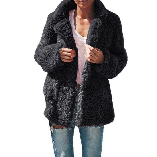 Poil Dames Outwear Manteau Chaud De Veste Femmes Décontractée Hiver Parka Foncé Pardessus Couverture Gris zX6wnqU0