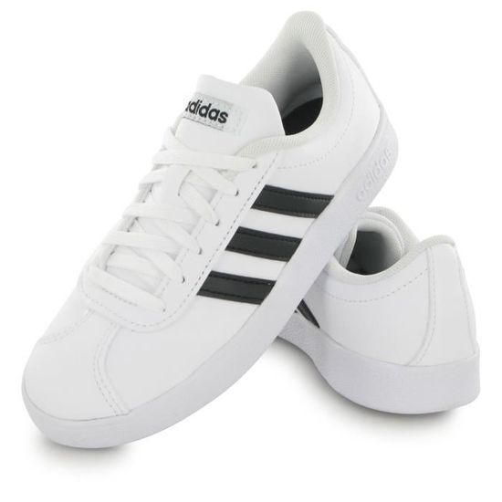 new style d55e6 4436d ADIDAS Baskets VL Court 2.0 - Enfant Garçon - Blanc et noir Blanc Blanc -  Achat   Vente basket - Cdiscount