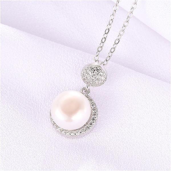Glamorousky Pendentif perle de fête des mères en argent 925 avec cristal et collier autrichien (24639)