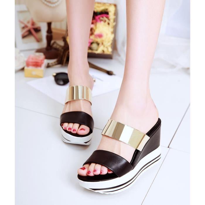 Nouvelles semelles épaisses noires Cales plate-forme de pantoufles sandales gnWcHk