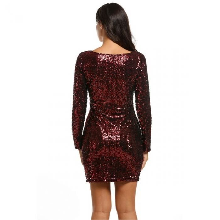 robe femme Col v manches longues paillettes robe