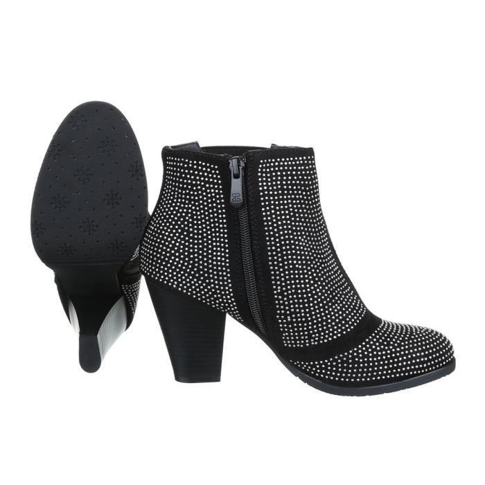 femme bottine chaussure arbre court Strass décoration botte noir