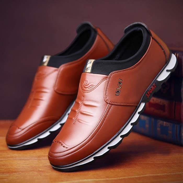 Mode pour hommes Casual Chaussures en cuir, bottes en cuir cheville extérieure, auto-école Mocassins (Taille: 38-44),noir,41