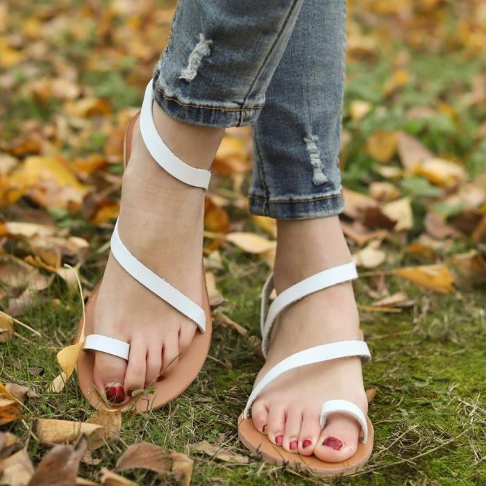 Bout À Ouvert Blanc Femmes Plage Casual Plates Chaussures Slip Rome on Sandales D'été Respirant 5EqgT