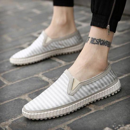 Mode Chaussures de toile Hommes Slip motif rayé sur Respirant plat Homme Mocassins Chaussures de marche souples Casualgris44,gris44