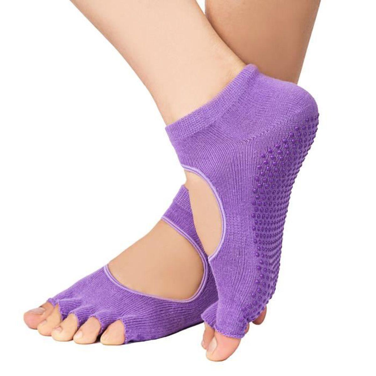 TAPIS DE SOL FITNESS Chaussure Femme Chaussettes de yoga 5cddff51549