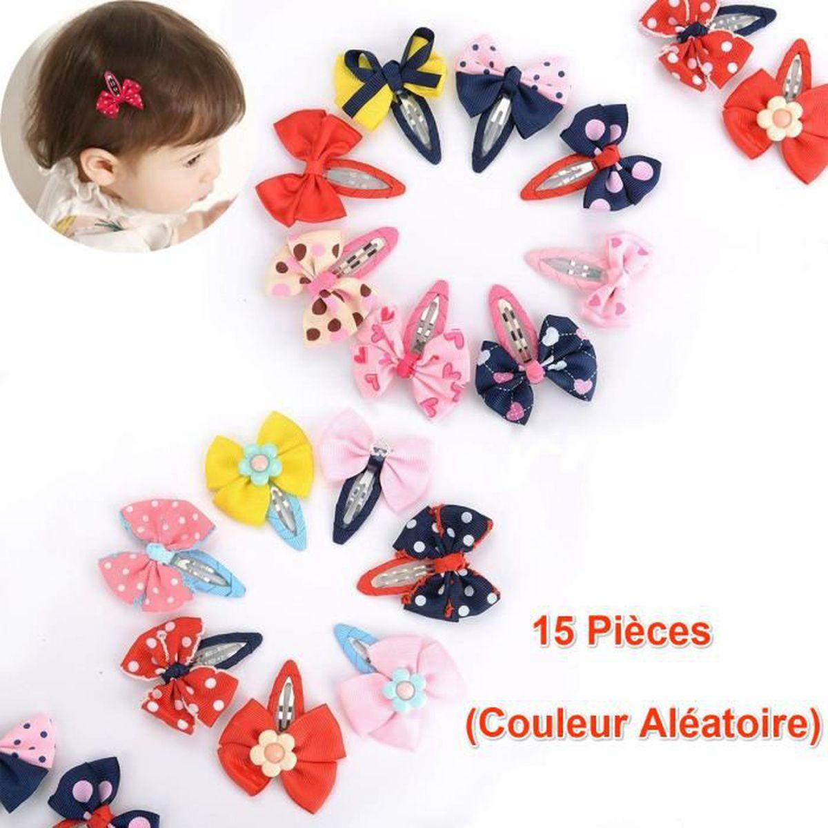 f7c1fcd5f9647 Pince à Cheveux Fille Barrettes Bébé bowknot fleurs motifs Cheveux en  épingle accessoire cheveux -15 Pièces (Couleur Aléatoire)