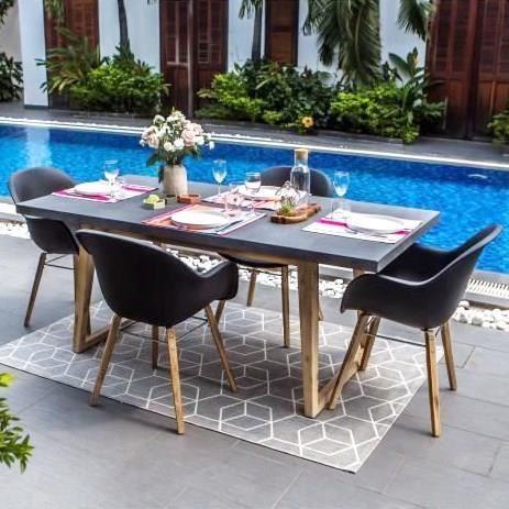 Ensemble repas de jardin 2 personnes - table 180x90 + 4 fauteuils- Plateau fibre de ciment Gris fonc