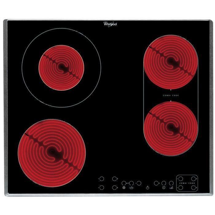 WHIRLPOOL AKT 8000 IX - Table de cuisson vitrocéramique - 4 zones - 6,2 kW - L58 x P51cm - Revêtement verre - Noir