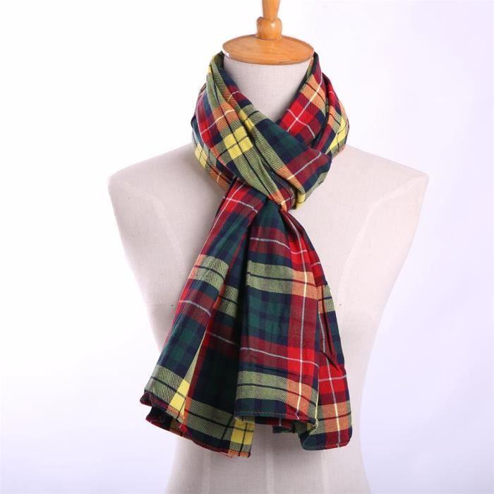 Écharpe pour Femme Écossais à Carreaux et Franges Tissu Doux Chaud ... 56646b0a862