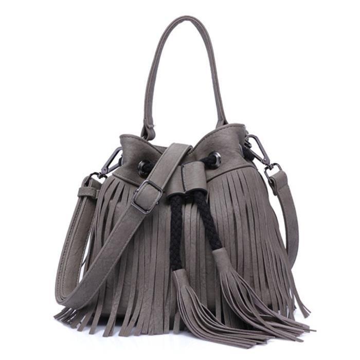 Franges Sac à bandoulière en cuir sac à main vintage Drawstring Croix-corps sac EN96A